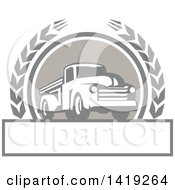 Clipart Of A Retro Vintage Pickup Truck In A Wheat Wreath Over A Text Box Royalty Free Vector Illustration by patrimonio
