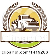 Clipart Of A Retro Vintage Pickup Truck In A Wheat Wreath Over A Blank Text Box Royalty Free Vector Illustration