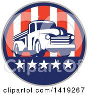 Clipart Of A Retro Vintage Pickup Truck In An American Themed Circle Royalty Free Vector Illustration