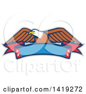 Clipart Of A Retro Bald Eagle Over A Blank Banner Royalty Free Vector Illustration