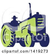 Clipart Of A Retro Silhouetted Blue And Green Farmer Operating A Tractor Royalty Free Vector Illustration