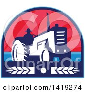 Clipart Of A Retro Silhouetted Organic Farmer Operating A Tractor In A Crest Design With Wheat Royalty Free Vector Illustration
