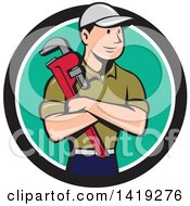 Clipart Of A Retro Cartoon White Male Plumber Or Handy Man Holding A Monkey Wrench In Folded Arms Inside A Black White And Turquoise Circle Royalty Free Vector Illustration