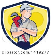 Clipart Of A Retro Cartoon White Male Plumber Or Handy Man Holding A Monkey Wrench In Folded Arms Inside A Blue White And Yellow Shield Royalty Free Vector Illustration