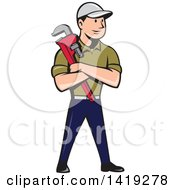 Clipart Of A Retro Cartoon White Male Plumber Or Handy Man Holding A Monkey Wrench In Folded Arms Royalty Free Vector Illustration