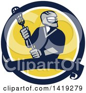 Clipart Of A Retro Male Lacrosse Player In A Blue White And Yellow Circle With A Banner Royalty Free Vector Illustration by patrimonio