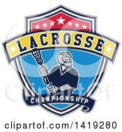 Clipart Of A Retro Male Lacrosse Player In A Championship Shield Royalty Free Vector Illustration