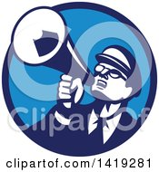 Clipart Of A Retro Nerdy Man Shouting Upwards With A Megaphone In A Blue Circle Royalty Free Vector Illustration