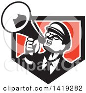 Clipart Of A Retro Nerdy Man Shouting Upwards With A Megaphone In A Black White And Red Shield Royalty Free Vector Illustration