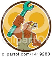 Clipart Of A Retro Hawk Mechanic Man Wearing Overalls And Holding Up A Spanner Wrench In A Brown White And Yellow Circle Royalty Free Vector Illustration