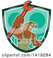 Clipart Of A Retro Hawk Mechanic Man Wearing Overalls And Holding Up A Spanner Wrench In A Green White And Turquoise Shield Royalty Free Vector Illustration by patrimonio