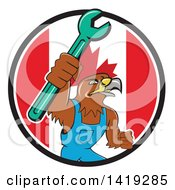 Clipart Of A Retro Hawk Mechanic Man Wearing Overalls And Holding Up A Spanner Wrench In A Canadian Flag Circle Royalty Free Vector Illustration