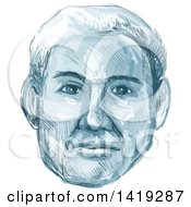 Clipart Of A Sketched Mans Face In Blue Tones Royalty Free Vector Illustration by patrimonio