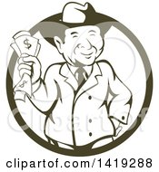 Clipart Of A Retro Cartoon Business Man Wearing A Fedora Hat And Holding Cash Money In A Cricle Royalty Free Vector Illustration