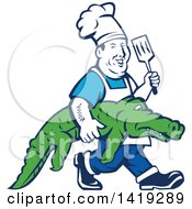 Clipart Of A Retro Chubby Male Chef Carrying An Alligator And Holding Up A Spatula Royalty Free Vector Illustration by patrimonio