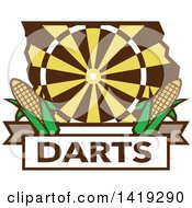 Clipart Of A Retro Dart Board In The Shape Of Iowa State With Corn Over Darts Text Royalty Free Vector Illustration