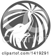 Clipart Of A Retro Elephant Spraying Water From His Trunk In A Circle In Gray Tones Royalty Free Vector Illustration