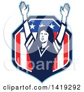 Clipart Of A Retro Female American Football Fan Cheering With Her Arms Up In An American Shield Royalty Free Vector Illustration