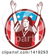 Clipart Of A Retro Female American Football Fan Cheering With Her Arms Up In An American Circle Royalty Free Vector Illustration