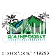 Clipart Of A Retro Maui Rainforest Design With A Waterfall Palm Trees And Mountains Royalty Free Vector Illustration