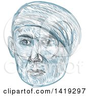 Clipart Of A Sketched Old Man Wearing A Turban Royalty Free Vector Illustration