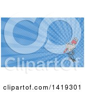 Clipart Of A Retro Cartoon Elephant Man Plumber Holding A Giant Monkey Wrench And Blue Rays Background Or Business Card Design Royalty Free Illustration