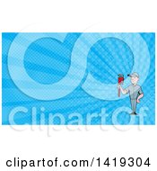 Clipart Of A Retro Cartoon White Male Plumber Or Handy Man Holding A Monkey Wrench And Blue Rays Background Or Business Card Design Royalty Free Illustration