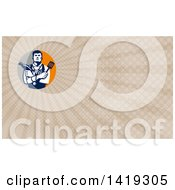 Clipart Of A Retro Jack Of All Trades Worker Man Holding A Blow Dryer And Spatula Wearing A Stethoscope And Tools And Brown Rays Background Or Business Card Design Royalty Free Illustration by patrimonio