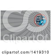 Clipart Of A Retro Male Pressure Washer Worker In A Circle With A Train And Tracks And Gray Rays Background Or Business Card Design Royalty Free Illustration by patrimonio