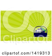 Clipart Of A Retro Roll Off Bin Dump Truck And Green Rays Background Or Business Card Design Royalty Free Illustration