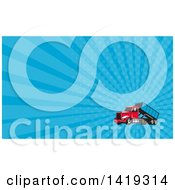 Clipart Of A Retro Roll Off Bin Dump Truck And Blue Rays Background Or Business Card Design Royalty Free Illustration