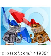 Muscular Brown Bear Man And Bull Ready To Fight Over A Graph With Arrows