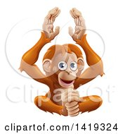 Clipart Of A Cartoon Cute Orangutan Monkey Sitting And Clapping Royalty Free Vector Illustration by AtStockIllustration