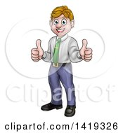 Clipart Of A Cartoon Happy Blond Caucasian Business Man Giving Two Thumbs Up Royalty Free Vector Illustration by AtStockIllustration