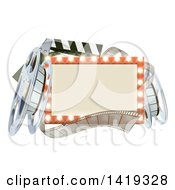Clipart Of A Cinema Movie Theater Sign With Film Reels And A Clapper Royalty Free Vector Illustration by AtStockIllustration
