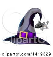 Clipart Of A Witch Hat With A Purple Band And Dangling Happy Spider Royalty Free Vector Illustration by AtStockIllustration