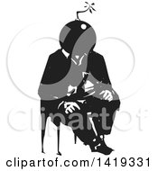 Clipart Of A Black And White Woodcut Bomb Headed Man Sitting In A Chair Royalty Free Vector Illustration