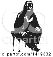 Clipart Of A Black And White Woodcut Cyclops Man Sitting In A Chair Royalty Free Vector Illustration by xunantunich
