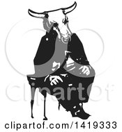 Black And White Woodcut Minotaur Sitting In A Chair