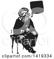 Clipart Of A Black And White Woodcut Talking Old Bearded Man Sitting In A Chair Royalty Free Vector Illustration