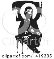 Clipart Of A Black And White Woodcut Bearded Hipster Man With A Halo Sitting In A Chair Royalty Free Vector Illustration