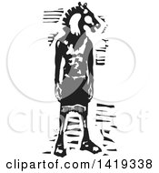 Clipart Of A Black And White Woodcut Horse Headed Man Royalty Free Vector Illustration