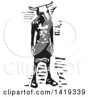Clipart Of A Black And White Woodcut Minotaur Royalty Free Vector Illustration