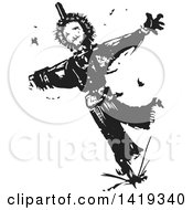 Clipart Of A Black And White Woodcut Scarecrow And Birds Royalty Free Vector Illustration by xunantunich