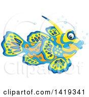 Clipart Of A Cute Mandarin Dragonet Marine Fish Royalty Free Vector Illustration