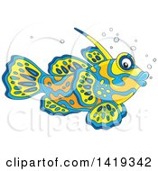 Clipart Of A Cartoon Colorful Mandarin Dragonet Marine Fish Royalty Free Vector Illustration