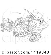 Clipart Of A Black And White Lineart Mandarin Dragonet Marine Fish Royalty Free Vector Illustration by Alex Bannykh