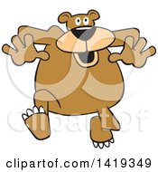 Clipart Of A Cartoon Goofy Bear Jogging Royalty Free Vector Illustration by Johnny Sajem