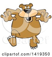 Clipart Of A Cartoon Mean Bear Running Royalty Free Vector Illustration by Johnny Sajem