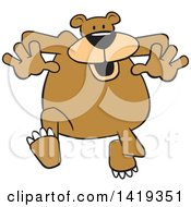 Clipart Of A Cartoon Happy Bear Jogging Royalty Free Vector Illustration by Johnny Sajem